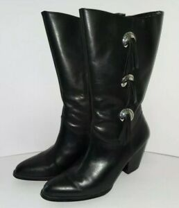 HARLEY-DAVIDSON-Boots-Black-Leather-NADIA-Tasseled-SIZE-8-Women-039-s-85330