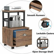 Rolling Lateral File Storage Cabinet Rack With Drawers Amp Open Shelf Home Office