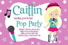 10 PERSONALISED POP PARTY BIRTHDAY INVITATIONS - KARAOKE MUSIC X-FACTOR ROCK