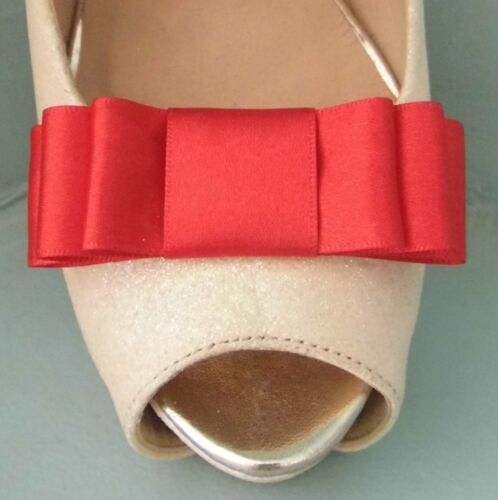 2 Cherry Red Triple Bow Clips for Shoes other colours on request