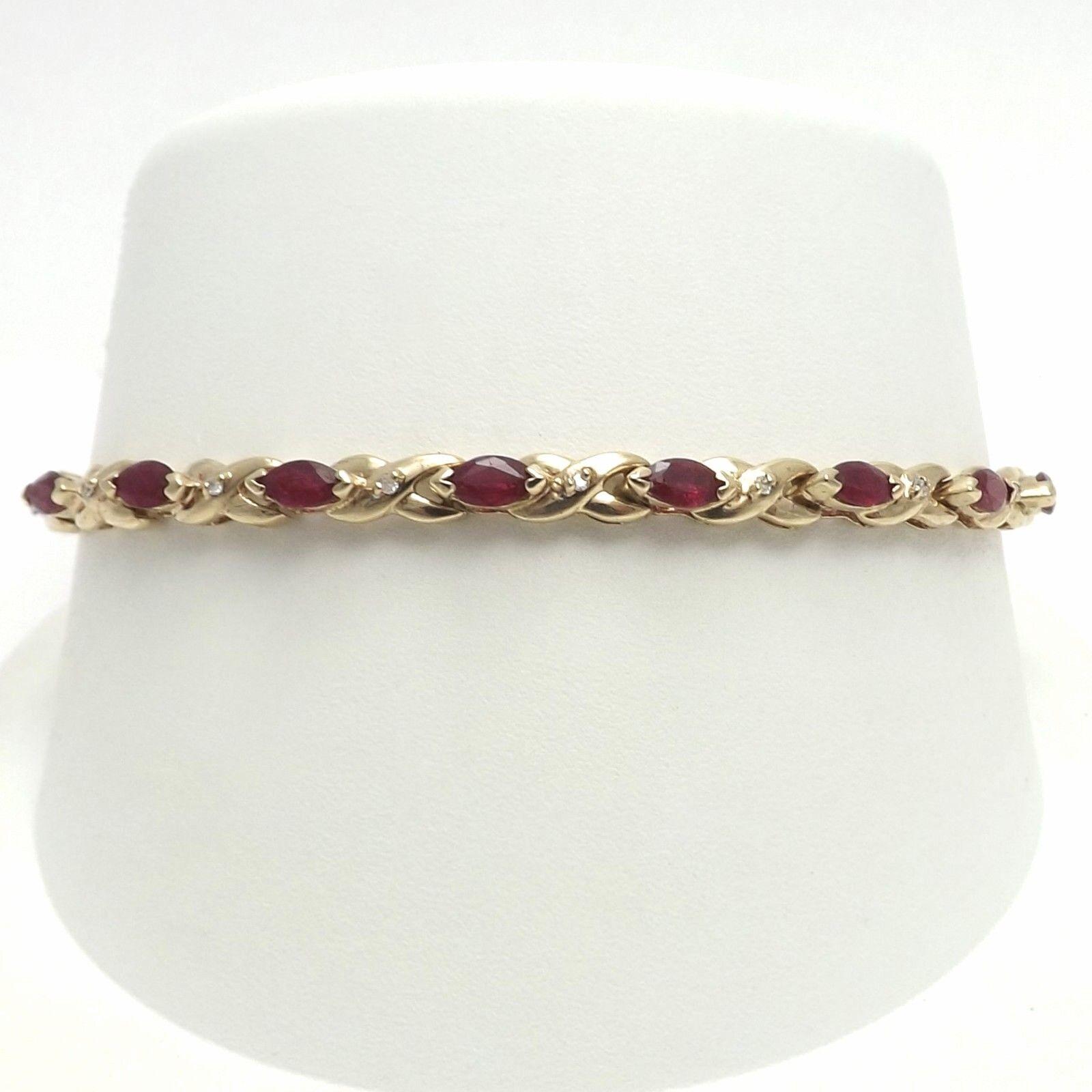 New 14k gold Natural Ruby Diamond Marquise XO hugs & Kisses Tennis Bracelet 7