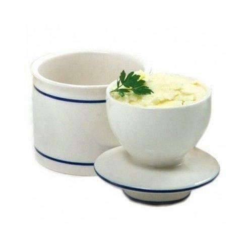 Butter Keeper Crock French Bell White Blue Kitchen Dish Stoneware Storage Cup