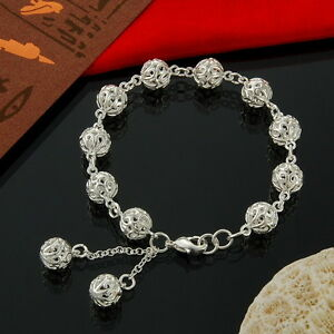 Hot-Fine-Jewelry-925-Sterling-Silver-Women-Ball-Linked-Solid-Chain-Bracelet-Gift