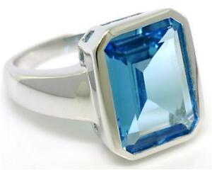 Blue-Topaz-9ct-375-Solid-White-Gold-Bezel-Huge-Ring-SZ-N-7-0-30-Day-Refunds