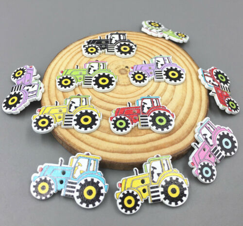 100X Cartoon car Wooden Sewing Buttons Mixed-color decoration scrapbooking 32mm