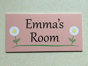 Pink Flowers Personalised Door Name Plaque Bedroom Room