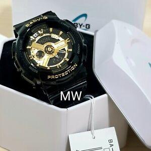 ab95af496fd15 Genuine Casio Baby-G BA-110-1A Analog Digital Black Gold Resin ...