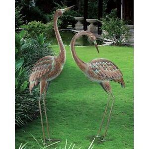 Image Is Loading Garden Crane Pair Statues Heron Bird Sculpture Outdoor