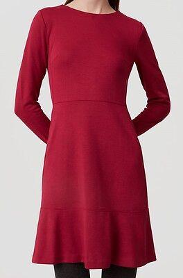 Ann Taylor Loft Long Sleeve Flare Dress Size 4 Magenta