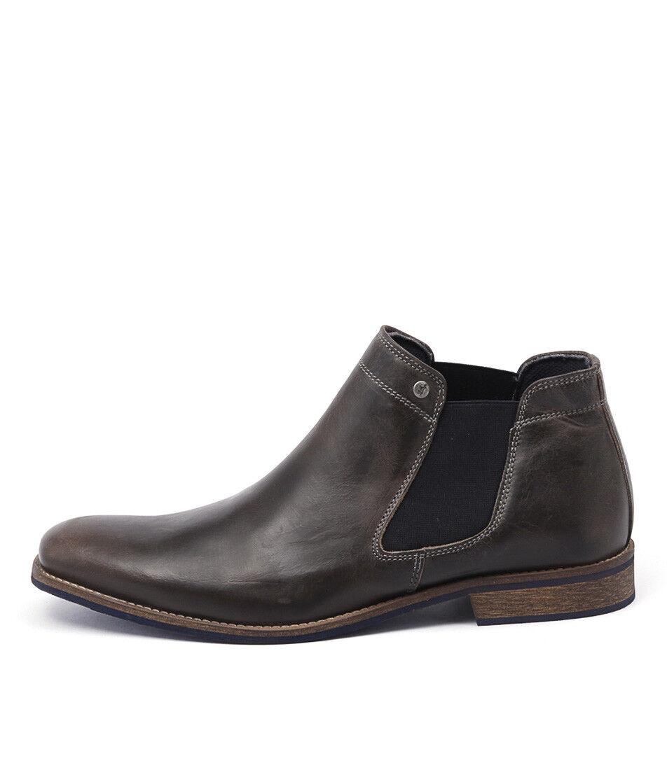 New Wild Rhino Drake Dark Grey Mens Shoes Dress Boots Ankle