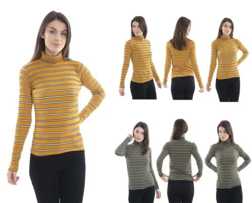 WOMENS RIBBED STRIPE POLO NECK TOP LADIES TURTLE NECK LONG SLEEVE  JUMPER NEW UK