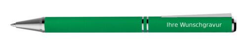 Farbe Kugelschreiber aus Metall mit Gravur grün mit speziellem Clip