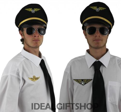 ADULT MENS AIRLINE PILOT CAPTAIN SET AVIATOR AVIATION COSTUME ACCESSORY HEN STAG