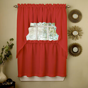 Details about Red Opaque Solid Ribcord Kitchen Curtains Choice of Tier  Valance or Swag