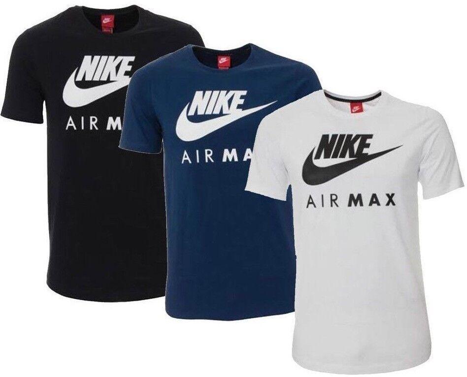 Nueva camiseta deportiva Nike Air Max Logo para hombre - Blanco Negro Azul