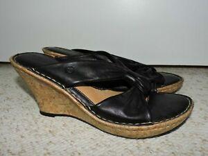 MINT Born Drilles Sandals Women's 9 M/W Black Leather Cork Side Wedge Heels