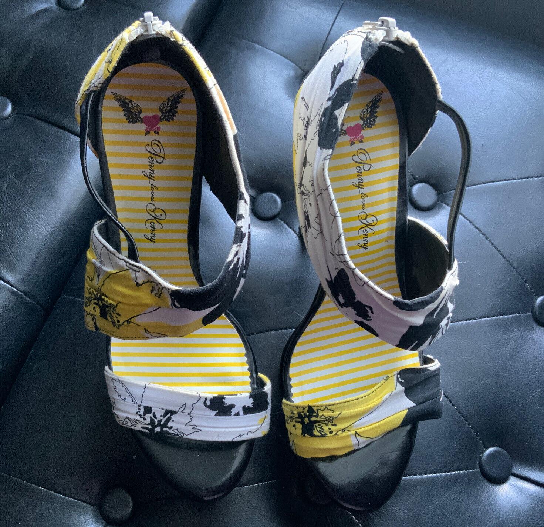 Penny Loves Kenny Black Yellow White Platform Stiletto High Heels Sz 9m