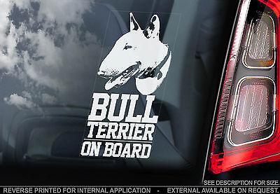 English Bull Terrier - Car Window Sticker - Dog on Board Bully Sign Gift - TYP1