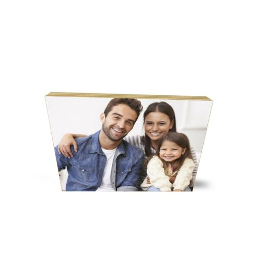 Personalised Wooden Fathers day Photo Block Plaque Custom Photo Custom Text Gift