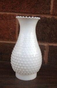 White Hobnail Milk Glass Hurricane Lamp Chimney Shade Only