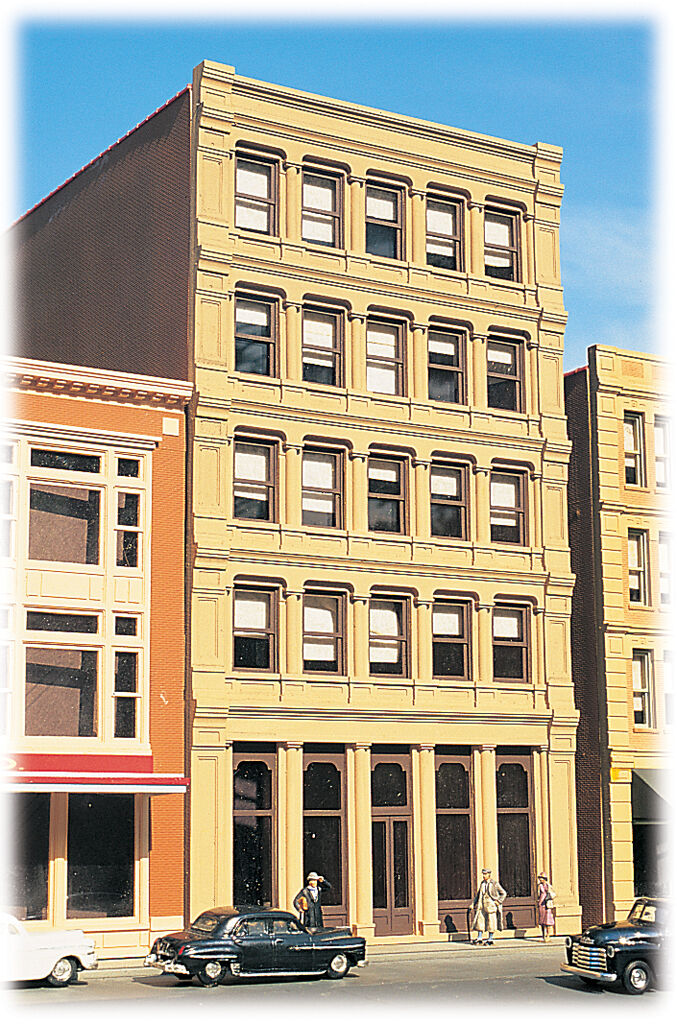 CLASSIC SAVINGS & LOAN BUILDING KIT BY CITYSCENES-HO-SCALE-MOLDED IN COLOR
