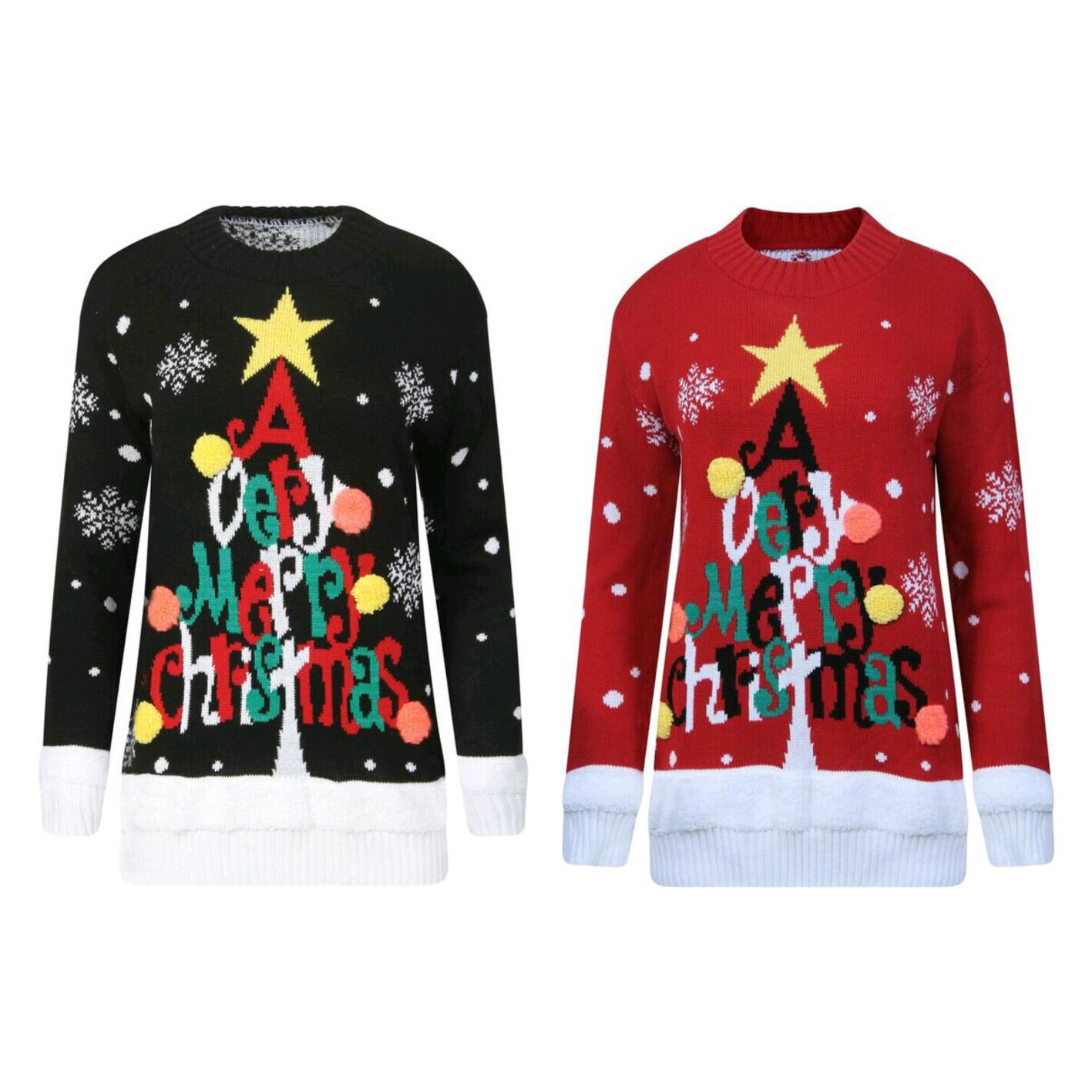 Christmas Novelty Jumper Knitting Patterns : Women ladies knitted very merry christmas d bubbles