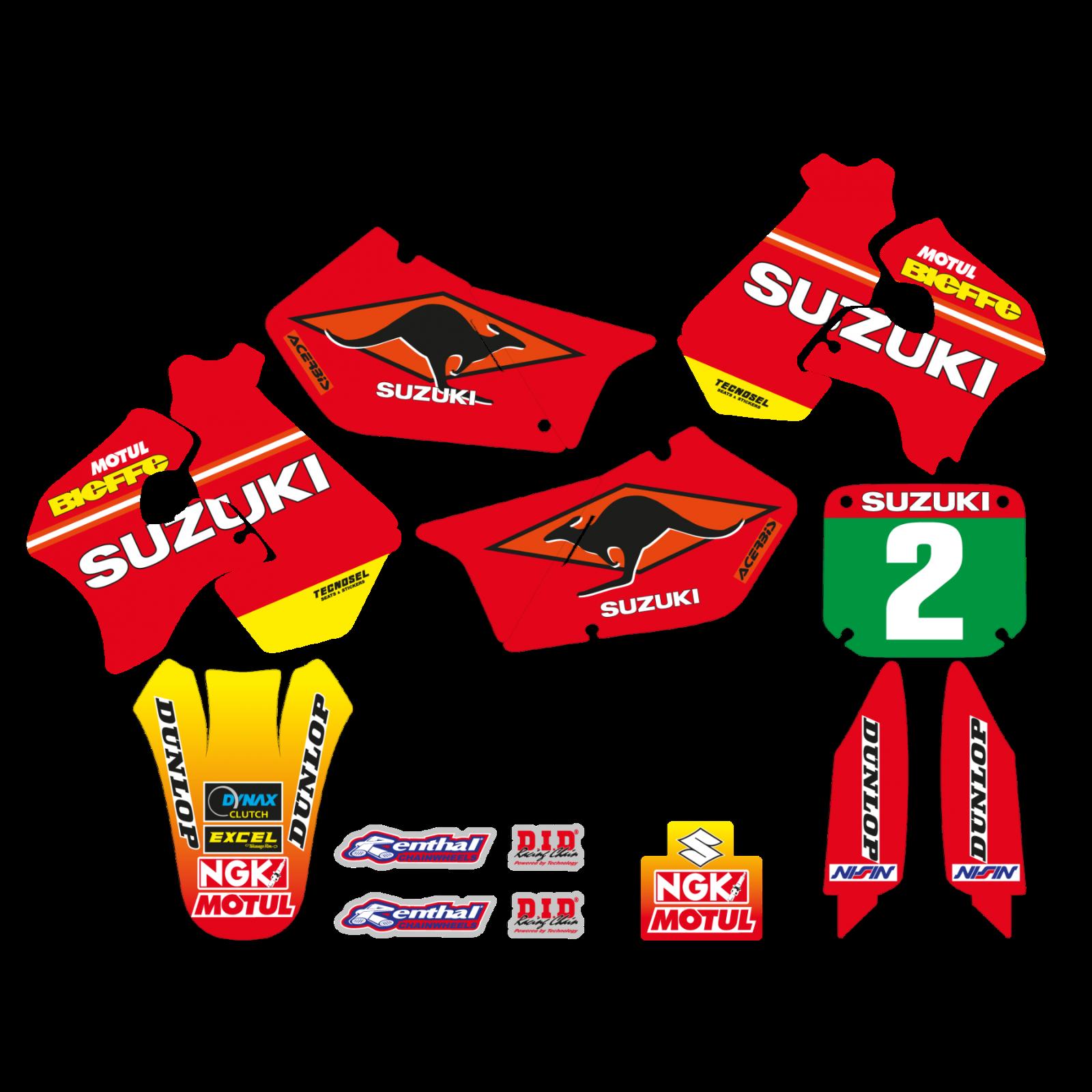 adesivi grafiche Suzuki Rm 125 250 1998 1996 1997 kit completo team moto cross