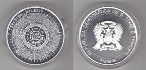 SAINT-THOMAS-AND-PRINCE-SILVER-2000-DOBRAS-COIN-1998-YEAR-KM-86-MILLENNIUM-COA