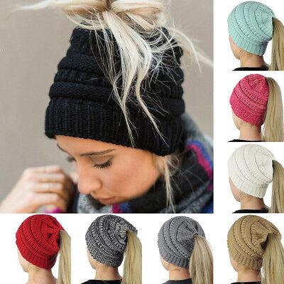 1X Winter Stretch Knit Hat Ponytail Beanie Hole Warm Wool Slouchy Crochet Cap