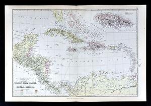 1883 Blackie Map - West Indies & Central America Cuba Jamaica Yucatan Costa Rica