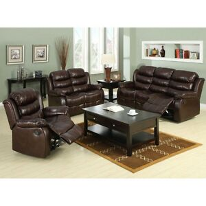 Transitional Rustic Brown Bonded Leather 3 Pc Sofa Loveseat Recliner Living Room