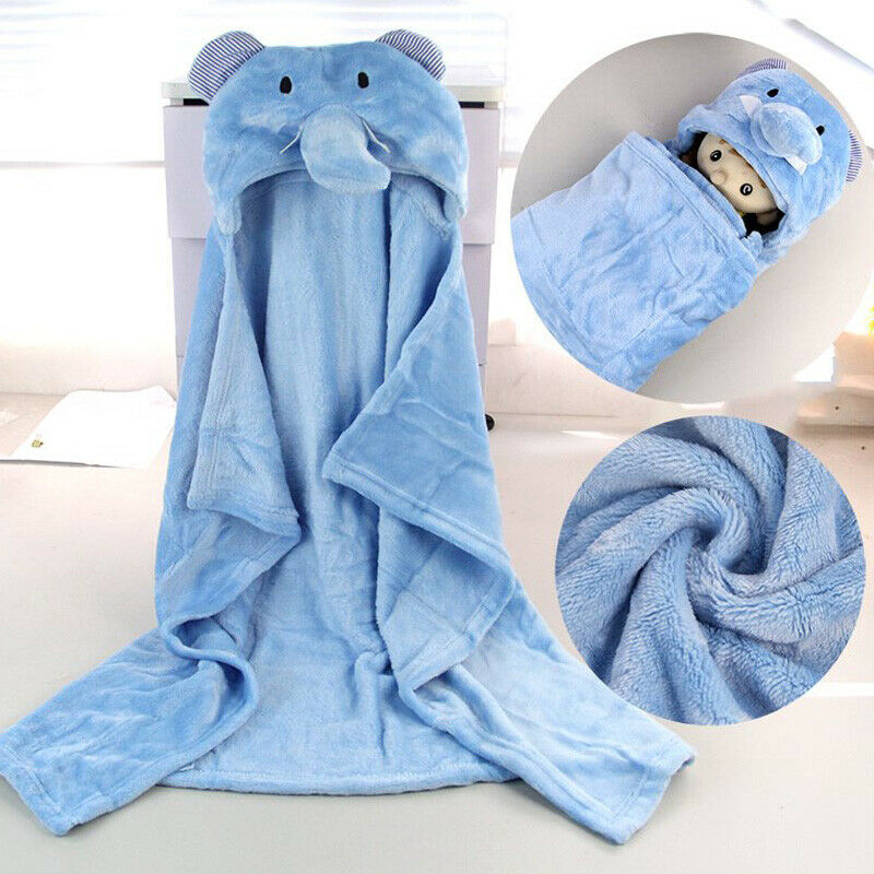 Baby Hooded Bath Towels Animal Bathrobe Fleece Towel Blanket Lion