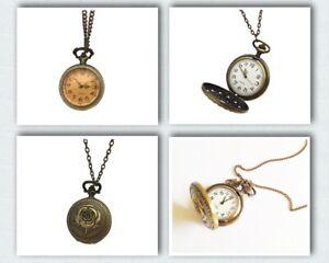 Vintage-Retro-Antique-Bronze-punk-Quartz-Pocket-Watch-Necklace-Pendant-Gift