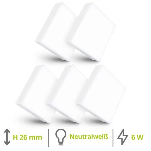 5er Set Mini LED Aufbauspot paniled quadratisch 6W neutralweiß Deckenspot 230V