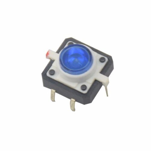 5PCS Blue LED Tactile Button Push Switch Momentary Tact With LED 4pin Round Cap