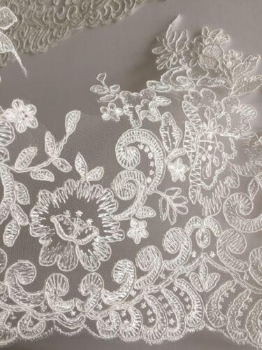 mariage riche lourd brodé Mariage Dentelle Ivoire 10 pouces//26 cm Dense Pattern
