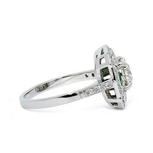 Art Deco Off White Moissanite Diamond Round Cut 925 Silver Wedding Ring 2.55 CT