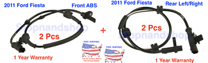 NEW ABS WHEEL SPEED SENSOR for 2011 Ford Fiesta Front  Rear Back Set