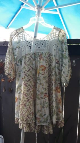 Free People Flowy Boho Peasant Tunic Dress Crochet