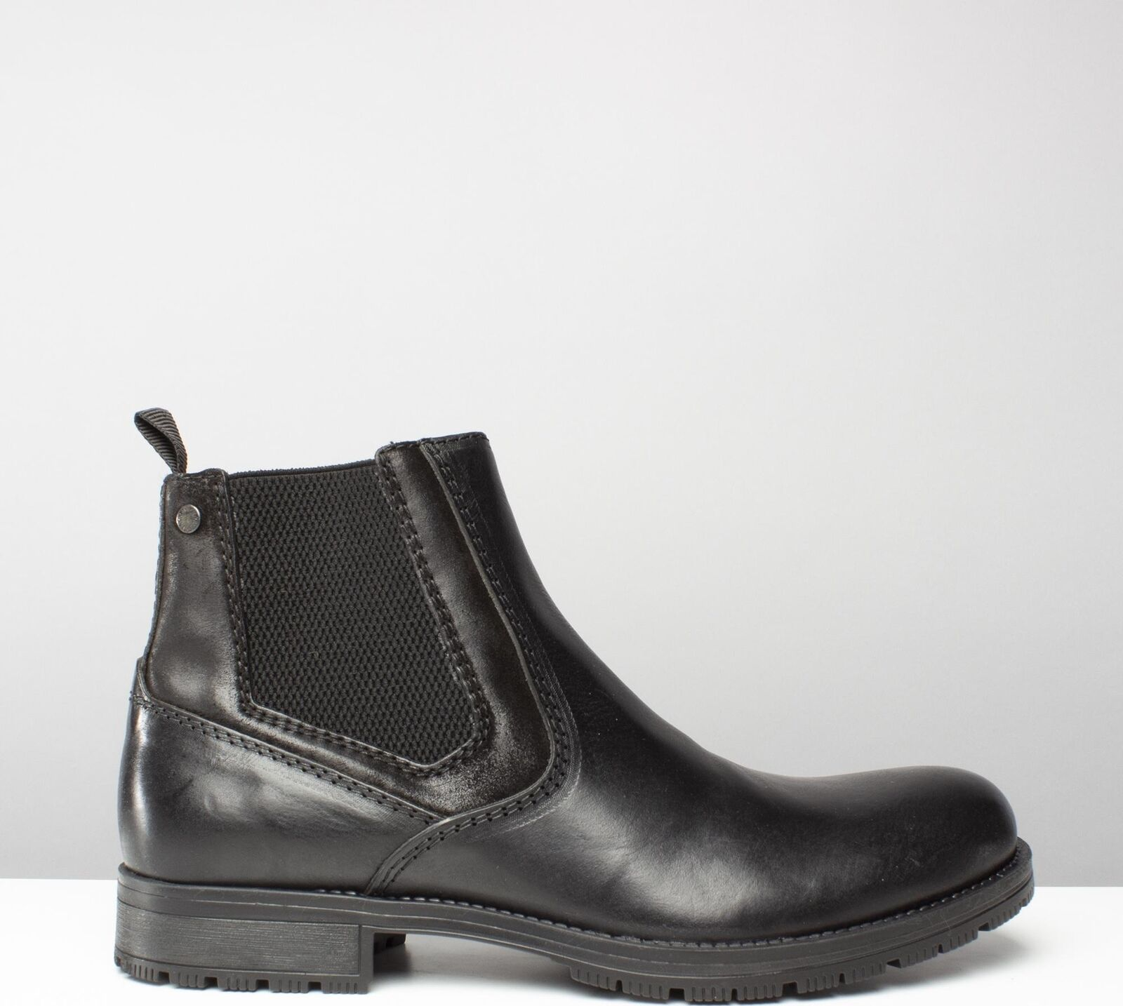 Jack & Jones JFWCARSTON COMBO Men Leather Pull On Chelsea Chelsea On Ankle Boots Anthracite ac7149