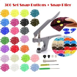 KAM Snaps 20 Colors Plastic Poppers T5 Snap Fastener 300 sets Pliers Heavy Tool