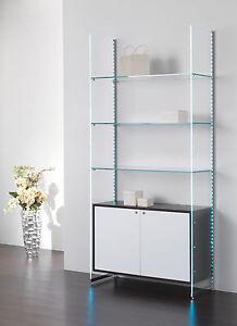 Composizione murale mobile parete libreria vetro cristallo sala ...