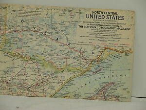 Vintage 1958 National Geographic Map North Central United States | eBay