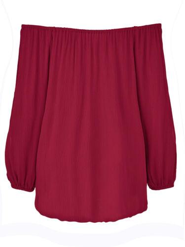 Tunika Gr.46+50+54+56 Schulterfrei Bluse Damen Rot Beere Bardot Bandeau festlich