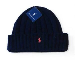 69dd3ff68df Polo Ralph Lauren Navy Blue Wool Blend Cuff Knit Beanie Red Pony ...