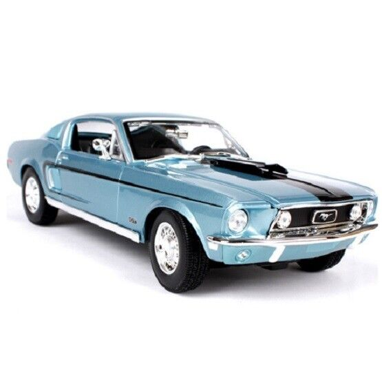 Maisto 1 18 1968 Ford Mustang GT COBRA JET Diecast Model Racing Car Toy blu NIB