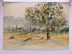 Paulette-Humbert-1904-1994-Aquarell-Originell-Circa-1950-Landschaft-Berg