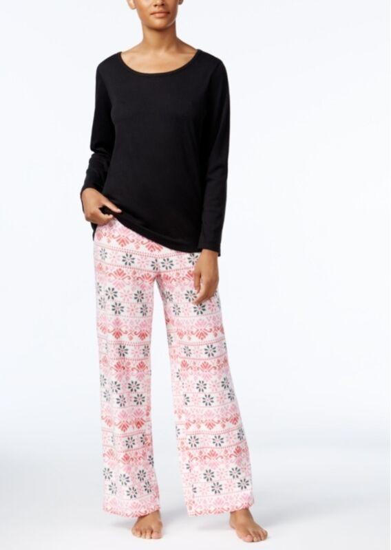 Charter Club Damen Pyjama Set Oberteil & Vlies Bedruckt Hose Größe Xl