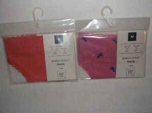 677f1e184a45 Gap Body lace trim stretch cotton thong panties S coral M pink w ...