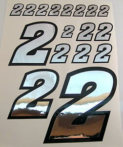 Racing Numbers Number 8 Decal Sticker Pack Silver Black 1//8 1//10 RC models S06
